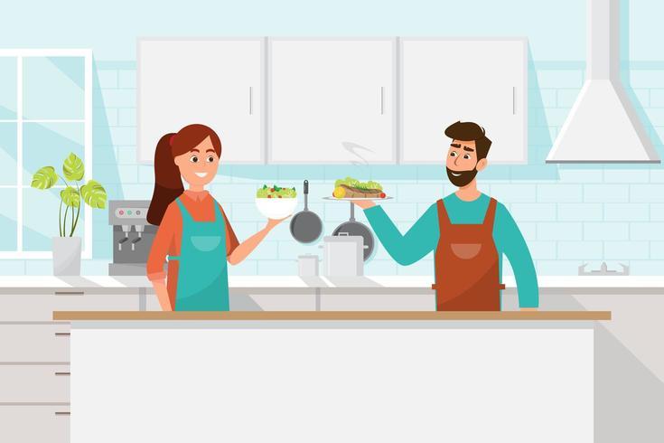 Man en vrouw koken samen vector