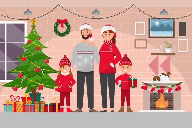 Familie kerstviering op kamer interieur met paar, vector