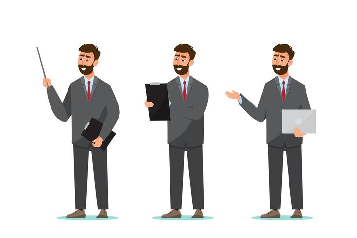 set van zakenman in verschillende poses vector
