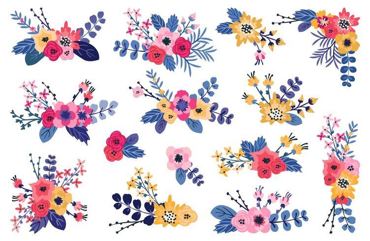 Lente bloemenboeketten vector