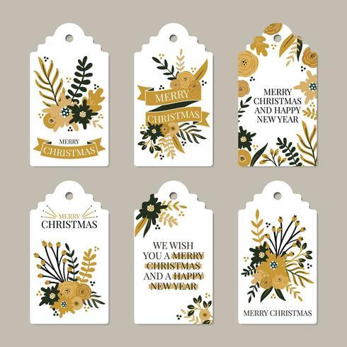 Prettige kerstdagen en gelukkig Nieuwjaar labels vector