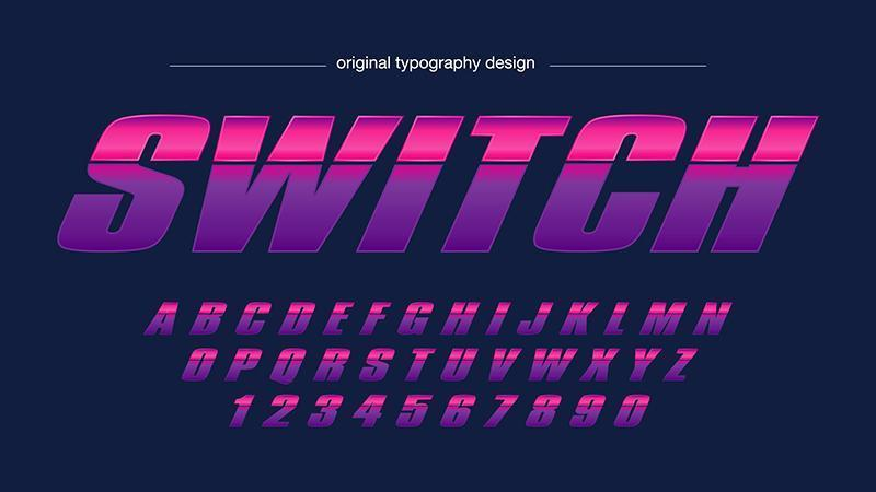 Roze gloeiende sporten abstracte typografie vector