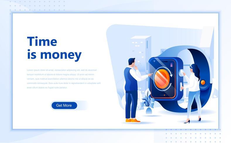 Tijd is geld plat webpaginaontwerp vector