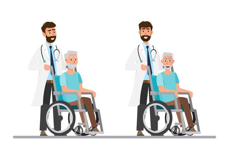 oude man zit op een rolstoel met arts wees voorzichtig vector