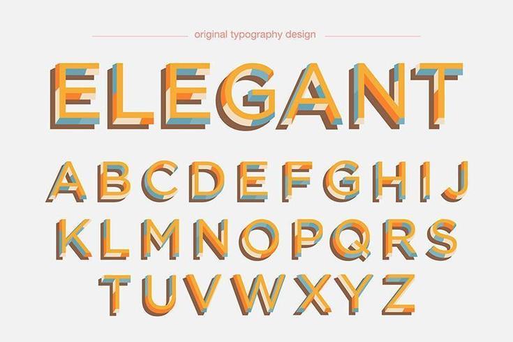 Kleurrijke Retro vetgedrukte typografie vector