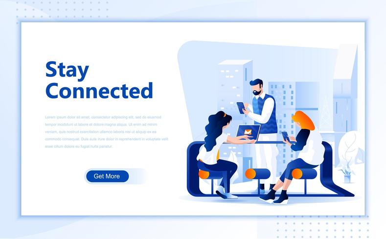 Sociaal netwerk plat webpaginaontwerp vector