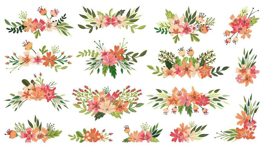 Lente boeket, bloemstukken vector