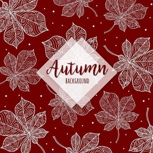 Mooie herfst kleurrijke hand getrokken bladeren achtergrond vector