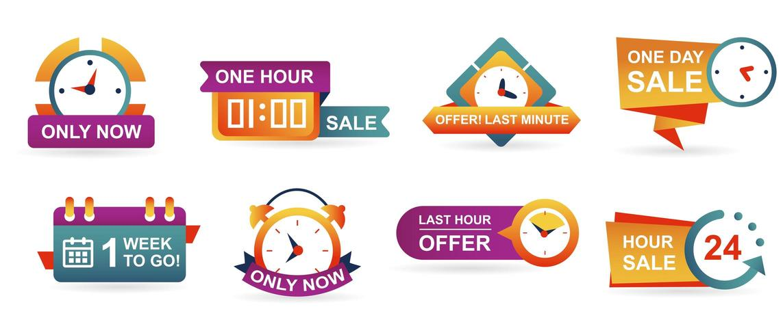 Aantal verkoop countdown badges en stickers witte achtergrond vector