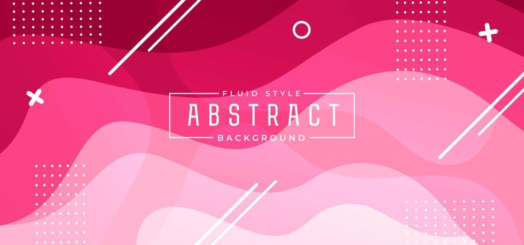 Roze golf vloeistof achtergrond met geometrische vormen vector