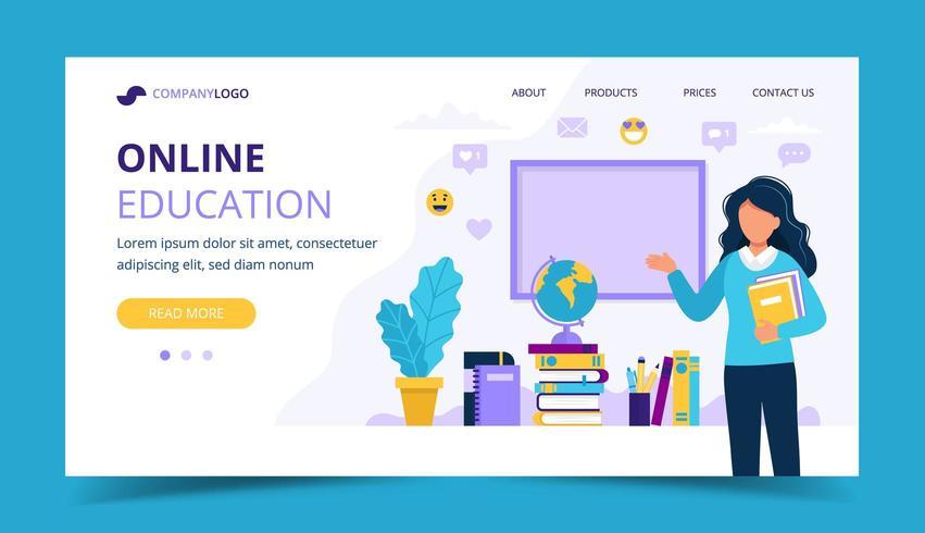 Online bestemmingspagina voor onderwijs vector