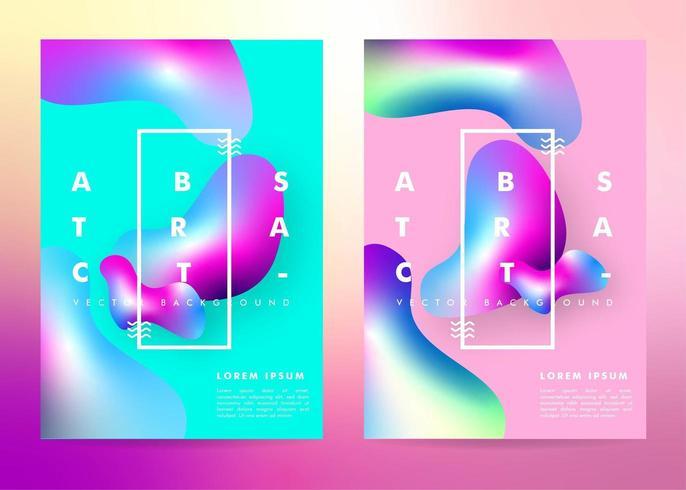 Poster met kleurovergang met vloeibare vormen vector