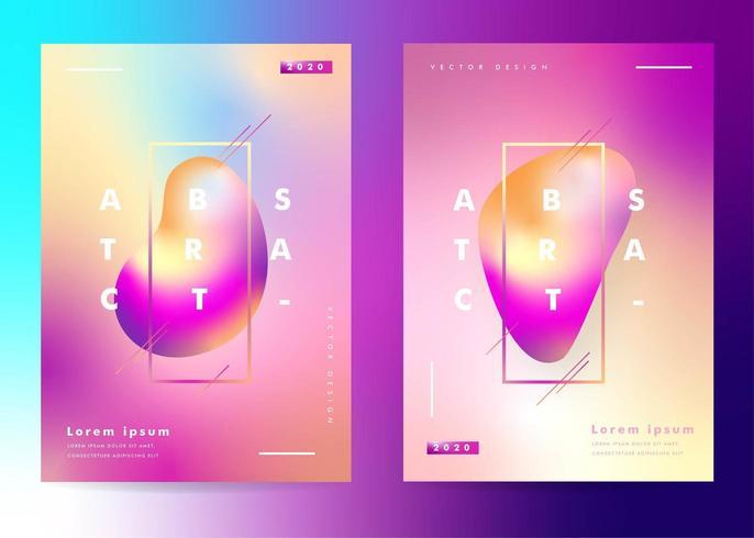 Set posters met gradiënt vloeistofeffect vector