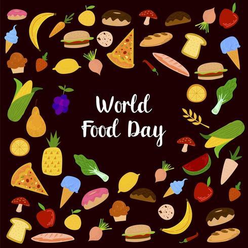 Wereld van voedsel dag op zwarte achtergrond vector