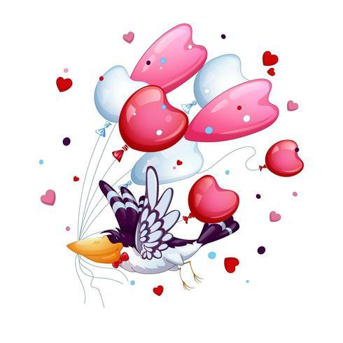 Grappige vogel met een stropdas vlinder vliegt met een bos ballonnen vector