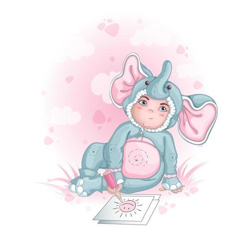 Een jongen in een baby olifant kostuum tekening vector