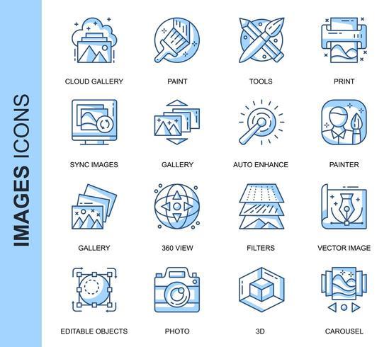 Blauwe dunne lijn afbeeldingen gerelateerde Icons Set vector