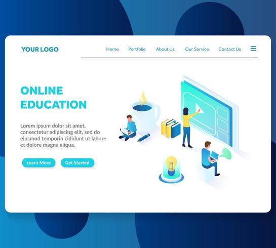online onderwijs isometrische bestemmingspagina sjabloon vector