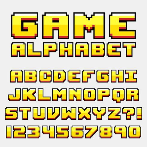 Retro Video Game Pixel Style Letter Set vector