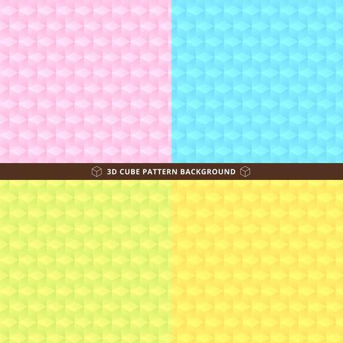 Set van naadloze 3D-kubuspatroon vector