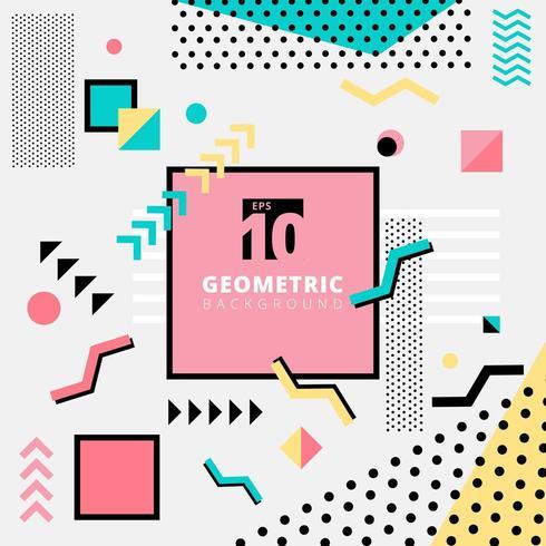 Memphis-stijl met geometrisch patroonontwerp voor mode in kleurrijke toon vector