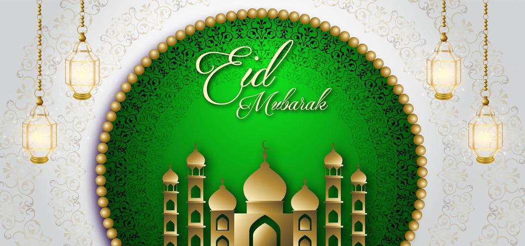 Eid Mubarak Green Royal Luxury Banner-achtergrond vector