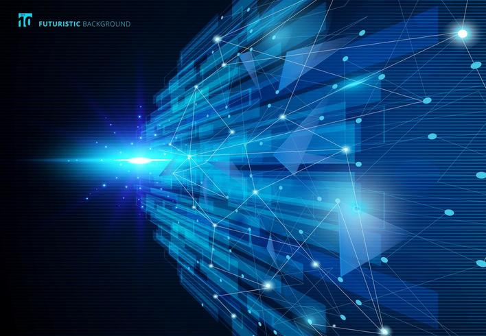 Het abstracte futuristische concept van de molecules blauwe virtuele technologie vector