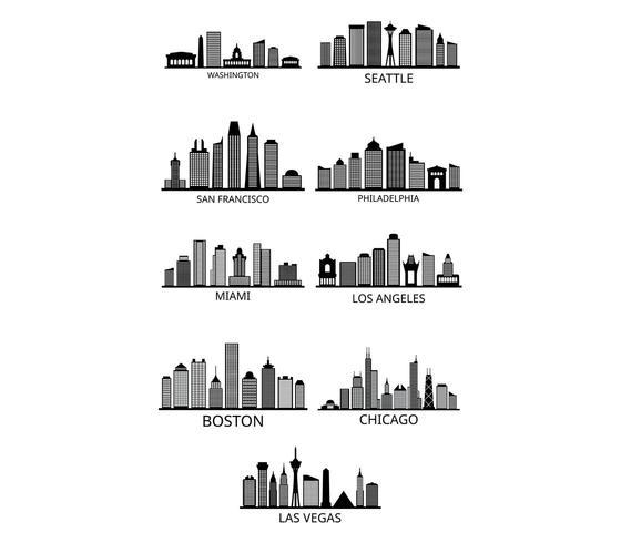 Set van Amerikaanse stad skylines vector