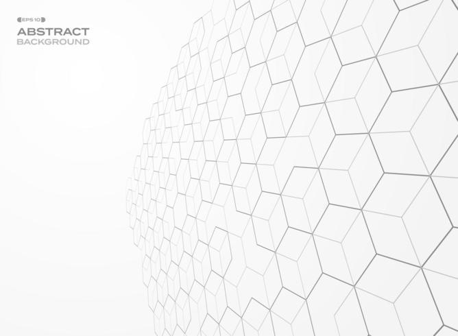 Abstracte teruglopende perspectief zeshoek schets achtergrond vector