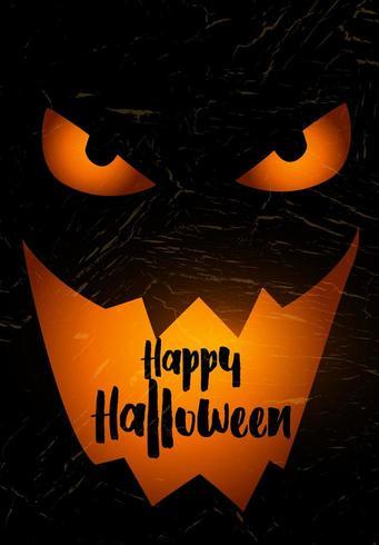 De achtergrond van Halloween van Grunge met griezelig pompoengezicht vector