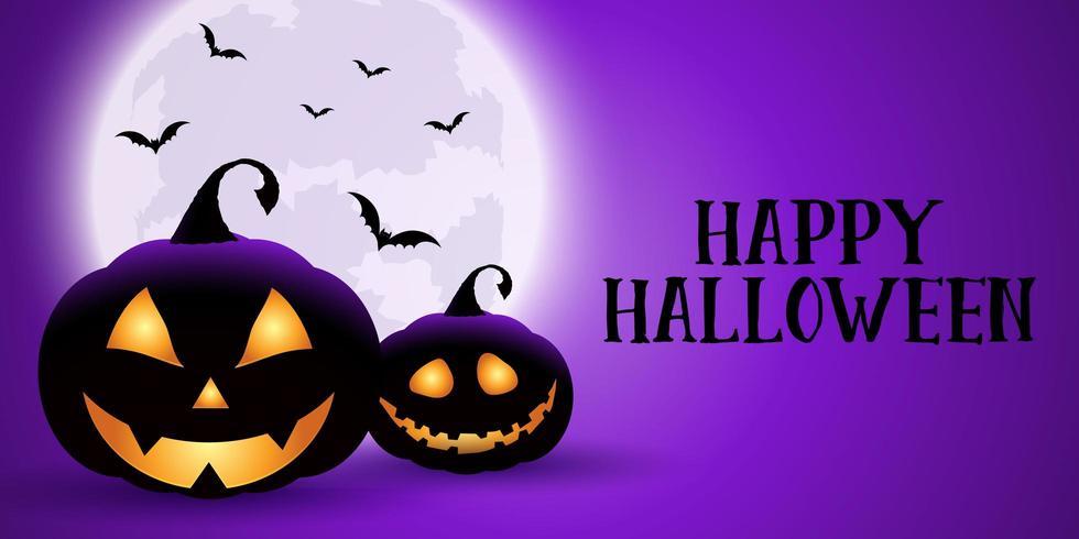 Griezelige paarse Halloween-banner vector