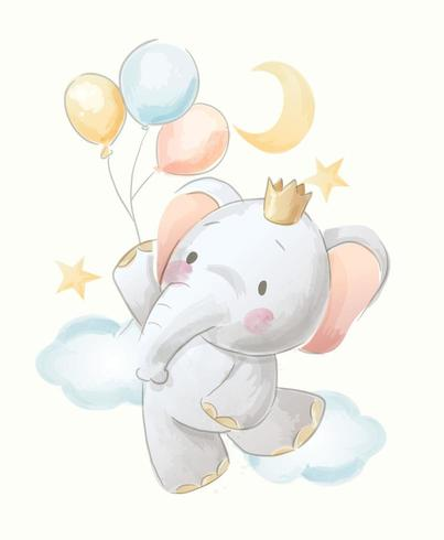 schattige cartoon olifant en ballonnen illustratie vector