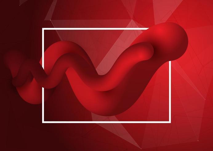 Rode 3D-stijl vloeiende vormen vector