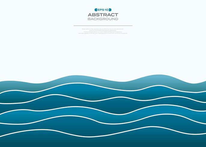 Eenvoudige achtergrond met kleurovergang blauwe golvende zee vector