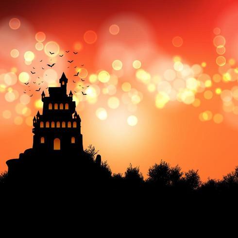 griezelig kasteellandschap met oranje hemel vector