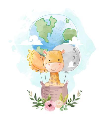 schattige giraf op wereldbol en ster hete luchtballon vector