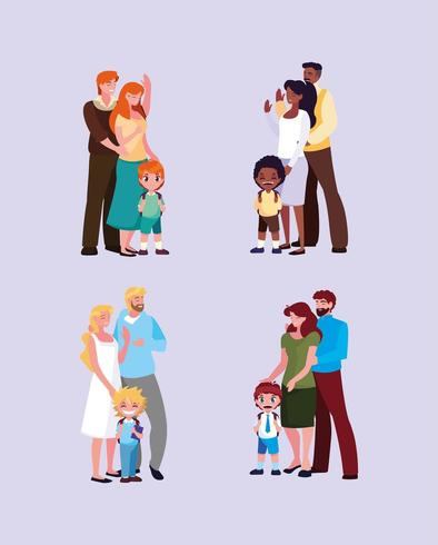 groep kleine studentenjongens met ouders vector