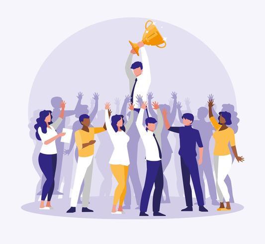 mensen uit het bedrijfsleven vieren met cup trofee vector