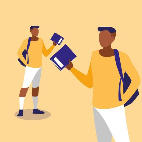 jonge jongens modelleren met notebooks vector