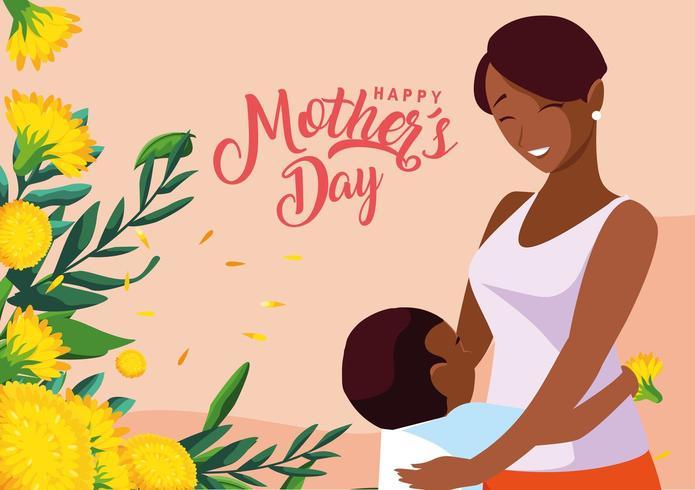 gelukkige moederdag kaart met moeder en zoon vector