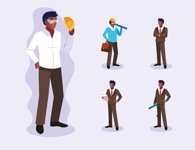 Set van professionele werknemers ontwerp vector