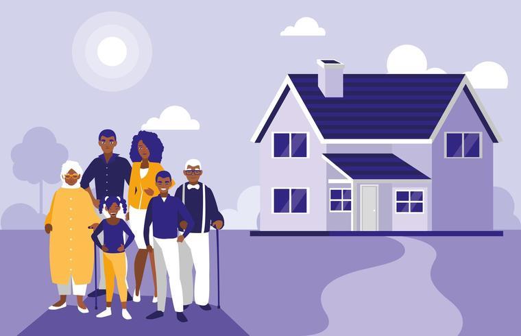familieleden met huis vector