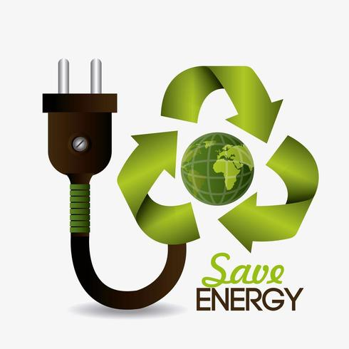 Groen energie en ecologieontwerp met stop en bol vector