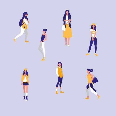 groep meisjes professionele modellen personages vector