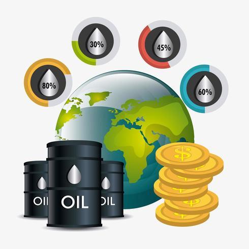 Olieprijzen met vaten, wereldbol en stapel munten vector