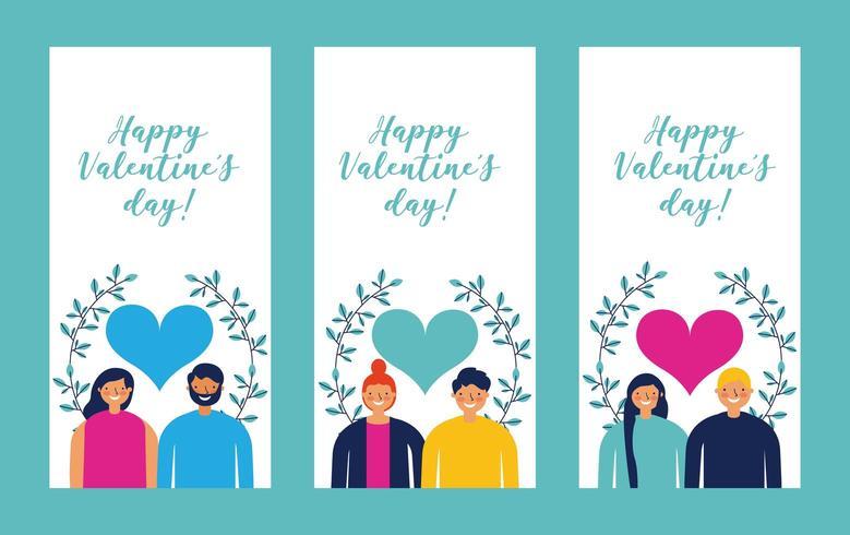 Set Valentijnsdag kaarten met paren vector