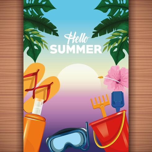 Hallo zomer kaart op houten achtergrond vector