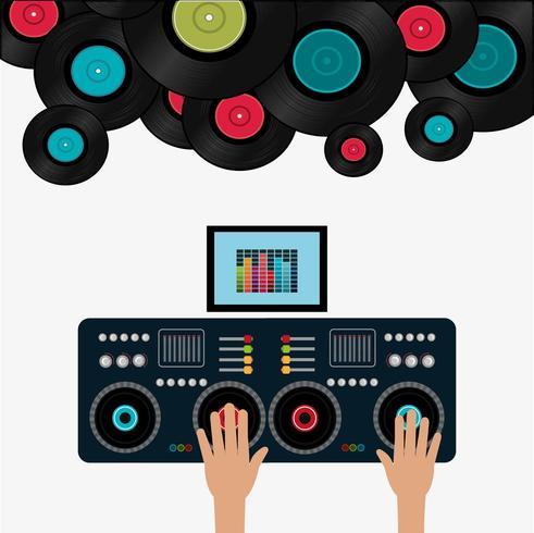 Muziek digitaal ontwerp met DJ en platen vector