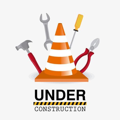 Onder constructie gereedschapsontwerp. vector
