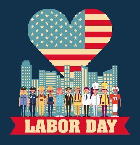 Patriottische dag van de arbeid kaart met carrière professionals vector